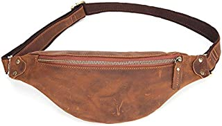 TOOGOO Crazy Horse Leather Waist Packs for Men Travel Fanny Pack 120Cm Belt Length Male Small Waist Bag for Phone Pouch Light Brown