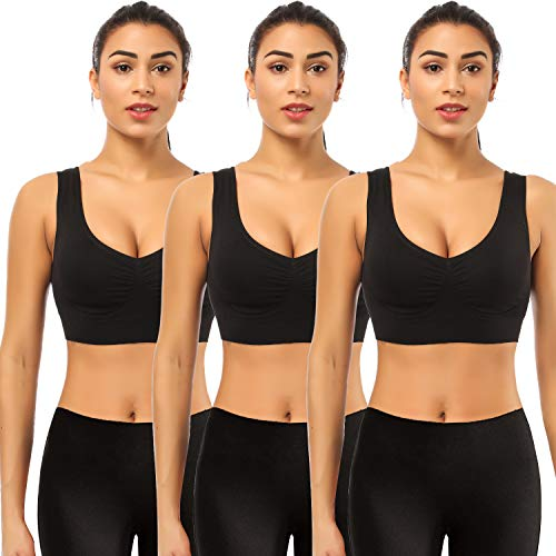 BESTENA Sports Bras for Women, 3 Pack Seamless Comfortable Yoga Bra with Removable Pads(Black,XXXX-Large)