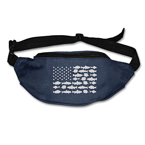 Tvox8x Fish Usa Flag Water Resistant Runners Belt Waist Pack For Men Women Jogging Hiking Fitness