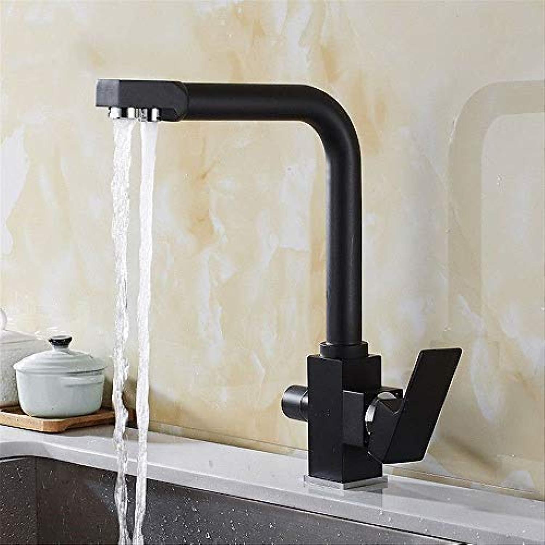 Wasserhahn Küche Waschbecken Badezimmer Wasserhahn Schwarz Warm- und Kaltwasserventil Messing 360 ° schwenkbar Einhebel