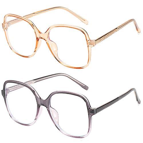Bias&Belief Pack de 2 Gafas con Bloqueo de luz Azul Gafas para Juegos de computadora TR Montura Cuadrada Redonda Montura de anteojos Gafas para Juegos Anti-Fatiga Ocular para Mujeres y Hombres,G