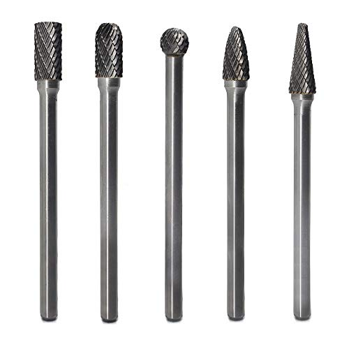 Carbide Burrs Set 5pcs JESTUOUS 1/4 Inch Shank Diameter Extended Long Double Cut edge Solid Tungsten Carbide Burr Rotery File for Die Grinder Bits Drilling
