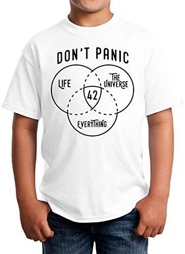 Don' Panic 42 The Answer to Life Universe Everything Camiseta Unisex para niños 5-13 años Blanco X-Small