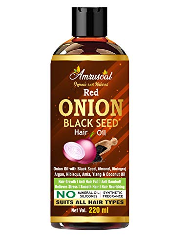AMRUSOAL Onion Black Seed Hair Oil for Hair Growth for Men & Women - 220ml | Controls Hair fall & Dandruff | Anti Hair fall Oil...