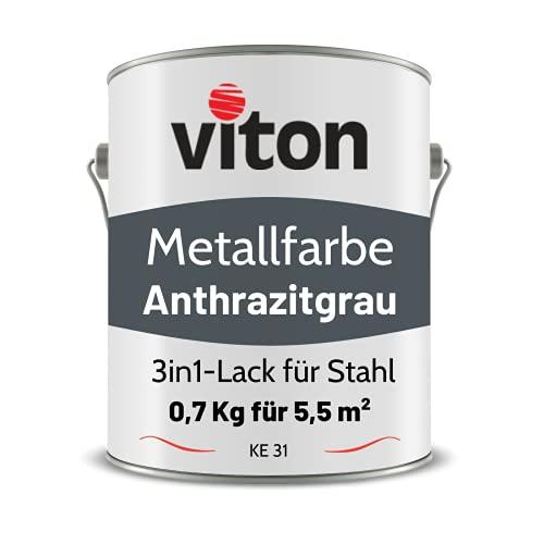 VITON Metallfarbe in Anthrazit - 0,7 Kg Metall-Schutzlack Seidenmatt - Dauerhafter Schutz & hohe Beständigkeit - 3in1 - Metalllack direkt auf Rost - KE31 - RAL 7016 Anthrazitgrau