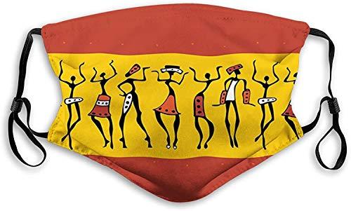 balaclava gesichtsschutz mundschutz tanzende figuren abstrakte stammes-alte wandfarbe indigene kultur nasenschutz wiederverwendbar waschbar gesichts schals mit 6 filtern Gr. One size, Einfarbig