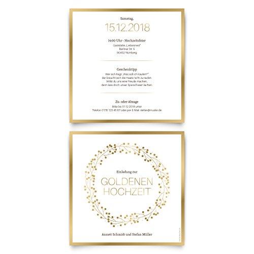30 x Goldene Hochzeit Einladungskarten Goldhochzeit 50 Jahre Hochzeitseinladungen - Goldkranz
