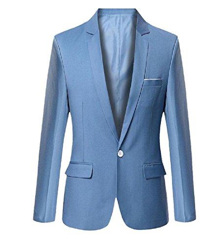 Aooword-men clothes Herren anzugjacke einfacher slim fit 1 button thin mode kleine blazer X-Large Himmel Blau