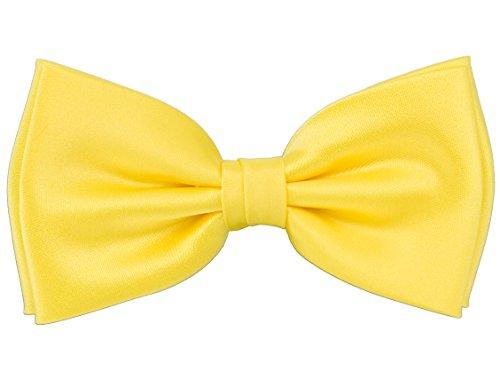 PUCCINI Herren Fliege für Männer, einfarbige/uni Schleife passend zum Smoking oder Anzug, bow-tie für den Mann in (Gelb)