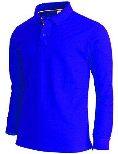 BCPOLO Men's Polo Shirt Long Sleeve Cotton Pique Polo Shirt-Royal Blue XL