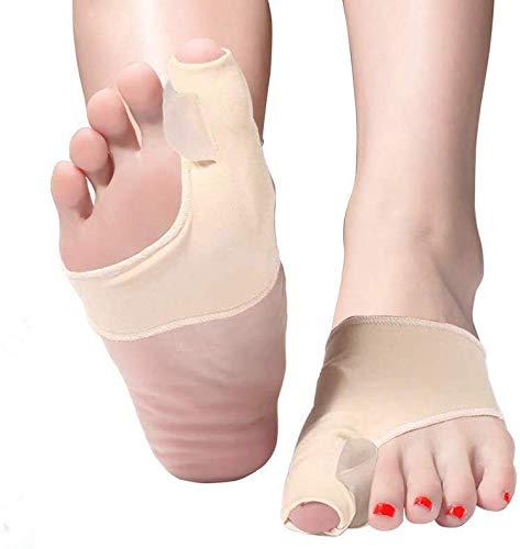 Zehenstrecker Hallux Valgus Socken Bunion Corrector Big Toe Straightener, Bunion Splint Support Protektoren Ärmel, Schmerzlindernde Ärmel mit integriertem Silikon-Pad (Beige, S)