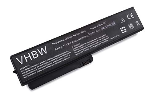 vhbw Batterie LI-ION 4400mAh 11.1V Noir Compatible pour FUJITSU-Siemens Amilo Li1720, Amilo Pro V3405, V3505, V3525, V3545, V8210 remplace 60.4P311.001