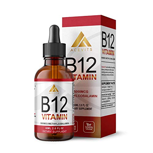 Vitamin B12 Liquid Drops - High-Strength 5000mcg Methylcobalamin - Energy Booster, Vegan - 60ml