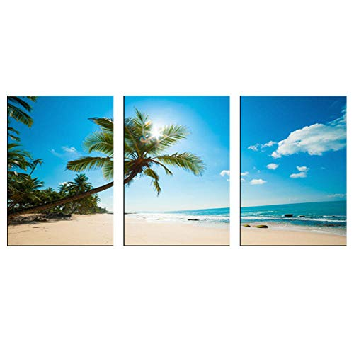 VSOO 3 Panel Canvas Wall Art Sea Beach Palm Tree Pictures Posters And Prints Modern Seascape Painting For Home Office Decoration No Frame-2_30x40cmx3pcs