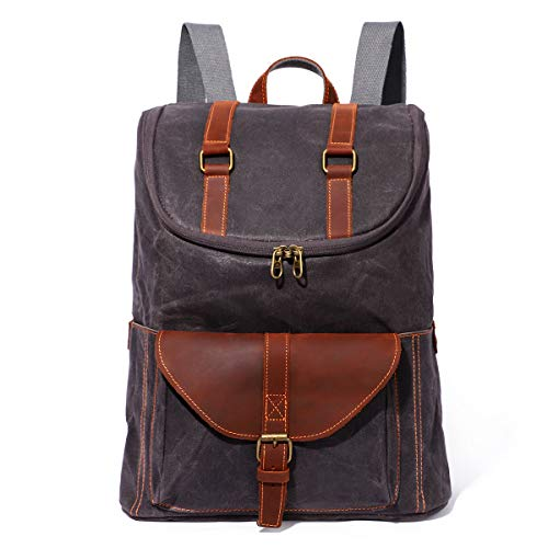 Retro Canvas Backpack - Vintage Men Bag Casual Daypack Fashion Satchel Leather Campus Bag Laptop Rucksack (113Gray)