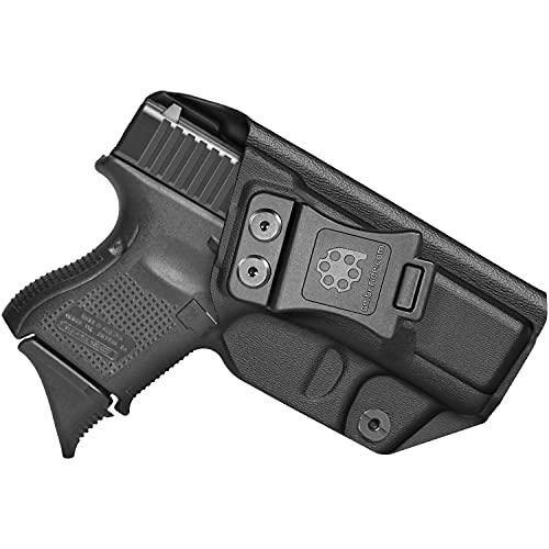 Amberide IWB KYDEX Holster Fit: Glock 26 Gen3-5 & Glock 27/33 Gen3-4 Pistol   Inside Waistband   Adjustable Cant   US KYDEX Made (Black, Left Hand Draw (IWB))