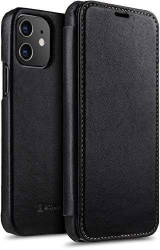 "StilGut Book Hülle kompatibel mit iPhone 12/12 Pro (6.1"") Hülle aus Leder zum Klappen, Klapphülle, Handyhülle, Lederhülle - Schwarz Nappa"