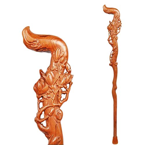 ELIUSI Fashionable Walking Sticks for Men and Women, Ergonomic Design Natural Solid Wood Walking Canes, Chinese Style Wood Carved Canes,Carve_95cm