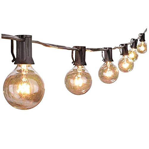 Amelia LED 25-foot outdoor terrace light string lights, all-weather commercial chandelier for backyard bistro pergola party decoration (black),Black