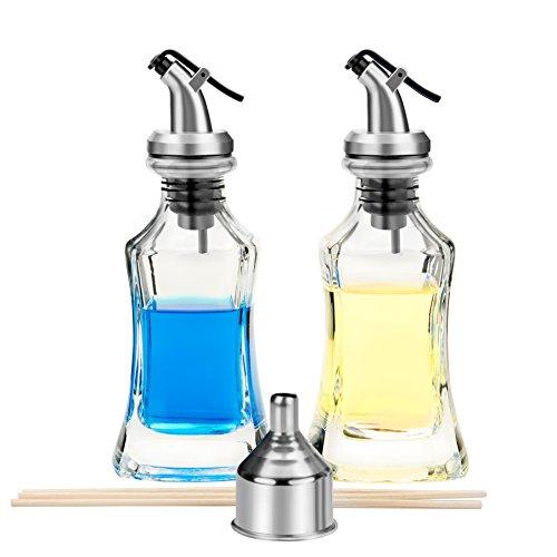 Olive Oil Dispenser - 2 Pack Oil and Vinegar Dispenser 150ml Salad Dressing Cruet Glass Bottle with 1 Stainless Steel Funnel