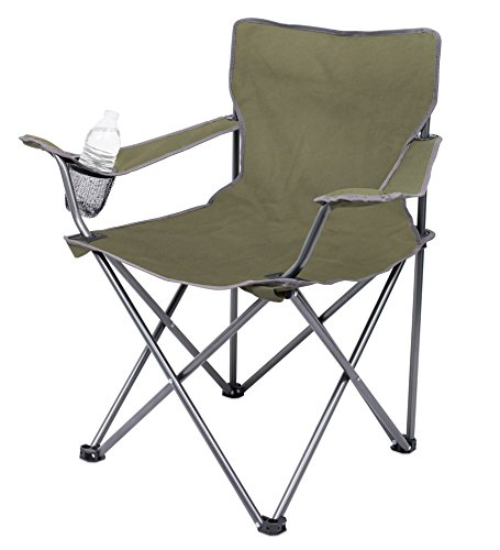 Internet's Best 2 Pack Camping Folding Chair - Outdoor - Green - Sports - Cup Holder - Comfortable - Carry Bag - Beach - Quad