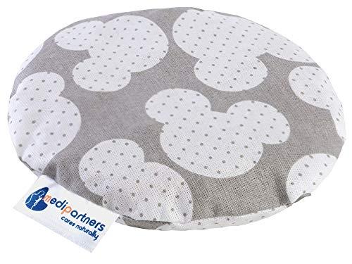Coussin chauffant en noyaux de cerises pour bébé 180 g rond 15 cm 100% coton naturel Medi Partners chaleur + thérapie par le froid (Mickey la souris)