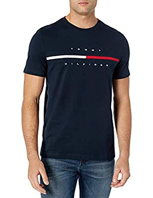 Tommy Hilfiger Men's Short Sleeve Logo T-Shirt, Sky Captain, LG