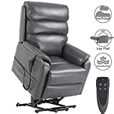 Jacky Home Lift Recliner Dual Motor Lay Flat Electric Power Chair for Elderly, Infinite Position Breathable Leather Heavy Duty Living Room Sturdy Sofa with Side Pocket (Grey)