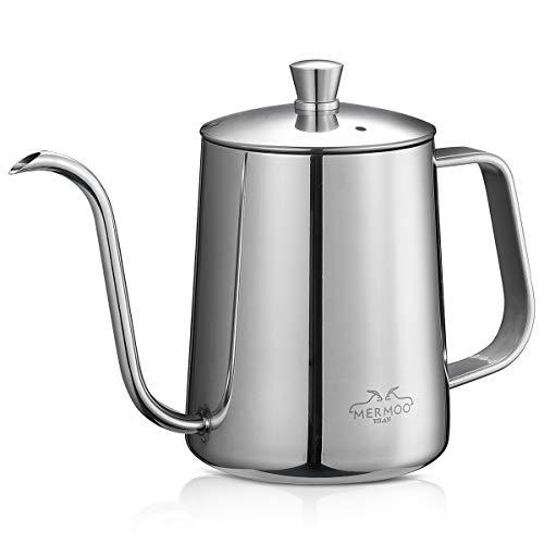 MERMOO YILAN コーヒー ポット ドリップコーヒー 蓋付き 人気 ドリップポット 2~3人用 600ml ステンレス 細口 珈琲 やかん リップケトル (シルバー)