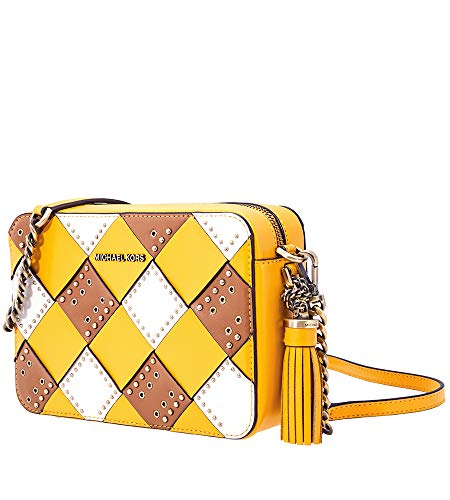 """A wow-worthy leather weave and sleek multi-size studs Zip closure; Removable tassel; Brass-tone exterior hardware Removable/adjustable strap with a 21.5 - 23.5"""" drop Interior: lined, 1 zip pocket, 1 slip pocket Small sized bag approx: 8.25""""W x 5.5""""H ..."""
