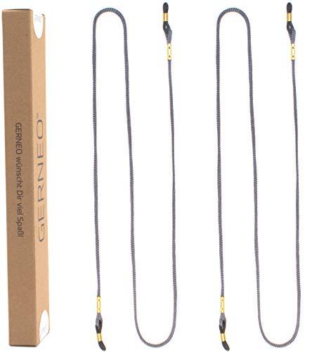 GERNEO® - DAS ORIGINAL - Premium Brillenband & Brillenkordel Unisex für Lesebrille & Sonnenbrille - goldene Halter - grau - extra lang - 2er Pack