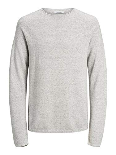 JACK & JONES Herren JJEHILL Knit Crew Neck NOOS Pullover, Light Grey Melange, Medium (Herstellergröße: M)