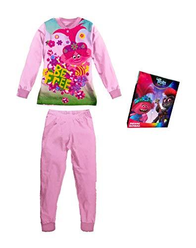 Sabor Pijama niña verano Trolls pijama niña algodón pijama niña niña largo Disney Marvel 6233 Rosa Claro 3 años