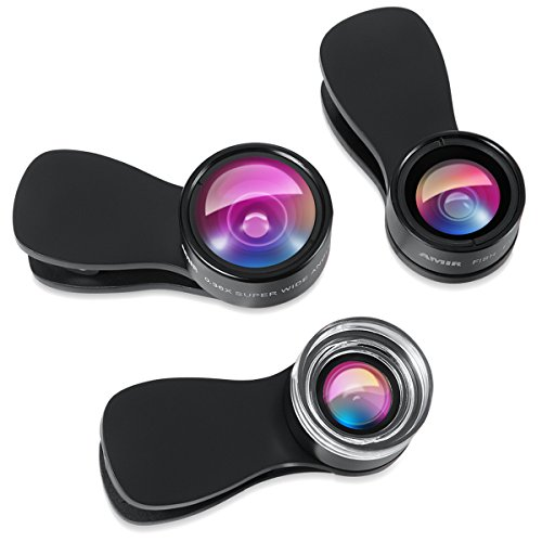 AMIR Phone Camera Lens, 180° Fisheye Lens, 25X Macro Lens, 0.36X Wide Angle Lens, Clip-On 3 in 1 Cell Phone Camera Lens for iPhone 7 8 X 7 Plus 6, Samsung, Other Smartphones