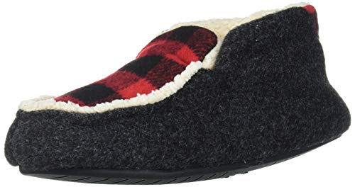 Dearfoams Unisex-Baby Mason Kids Felted Microwool and Plaid Bootie Slipper, Black, 7-8 Toddler Medium US Toddler
