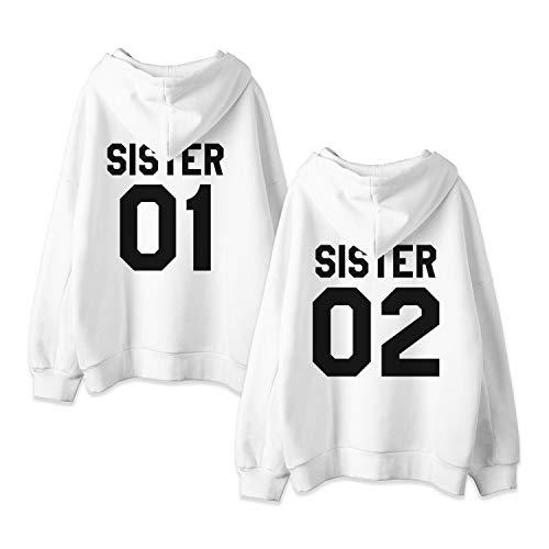 Kapuzenpullis für Zwei Damen Beste Freunde Sweatshirts Partner Look Pullover mit Kapuze Freundin Hoodie BFF Winter Pulli Freundschaft 2 stücke(Weiß+Weiß,sister-01-S+02-S)