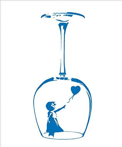 LightningSigns Wandaufkleber/Wandsticker, Motiv: Banksy Mädchen mit Luftballon, Vinyl - blau