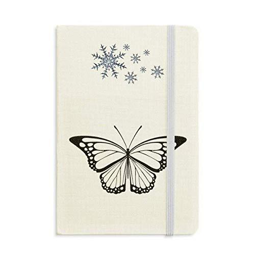 Cuaderno de espécimen de mariposa negra simple grueso diario copos de nieve invierno