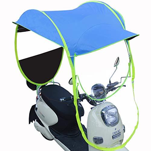 JFJL Universelle Sonnenschutzabdeckung Für Elektrische Motorräder, wasserdichte Abdeckung Für Rollerregen, Regenschirmabdeckung Für Elektrische Fahrradüberdachungen, UV-Beständiger Schutz,Blau