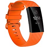 Velavior Waterproof Bands for Fitbit Charge 3/ Fitbit Charge 4/ Charge3 SE, Replacement Wristbands for Women Men Small Large (Orange, Small)
