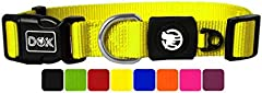 DDOXX Collar Perro Nylon, Ajustable | Muchos Colores & Tamaños | para Perros Pequeño, Mediano y Grande | Collares Accesorios Gato Cachorro | Amarillo, M