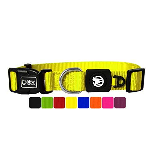 DDOXX Collare Cane Nylon, Regolabile   Tanti Colori e Taglie   Per Cani Piccoli Medi e Grandi   Collari per Cani, Gatti, Cuccioli Taglia Piccola Media Grande   Collarino Gatto   Giallo, S