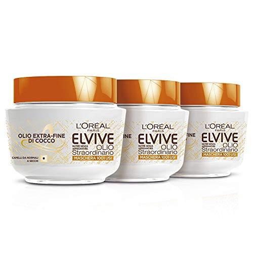 L'Oréal Paris Elvive Lot de 3 masques nourrissants, huile fine de noix de coco, pour cheveux normaux à secs, 300 ml [900 ml]