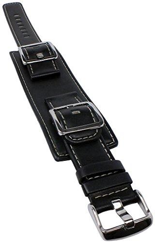 Correa de reloj de piel de 20 mm para Casio Collection MTF-103L en negro