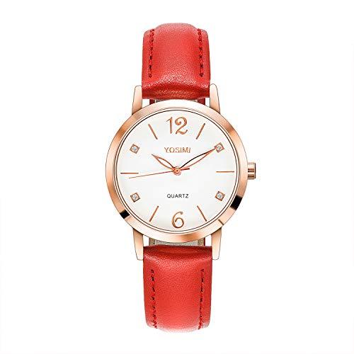 Yosimi rote Damen-Armbanduhr mit Lederband, Roségold mit Kristallen, Analog, mit zwei Zifferblättern, modisch und luxuriös