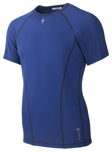 Smartwool Mérinos Lightweight Rib Tee à Manches Courtes T-Shirt Fonctionnel pour Homme Noir Bleu Bleu Cobalt M