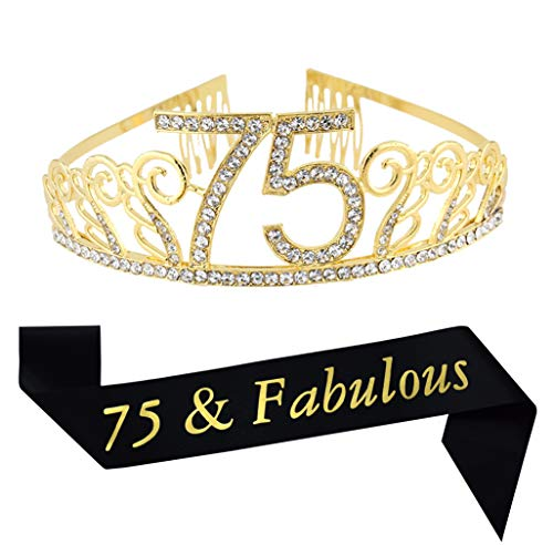 75th Birthday Gold Tiara and Sash Glitter Satin Sash and Crystal Rhinestone Tiara Crown for Happy 75th Birthday Party Supplies Favors Decorations 75th Birthday Cake Topper