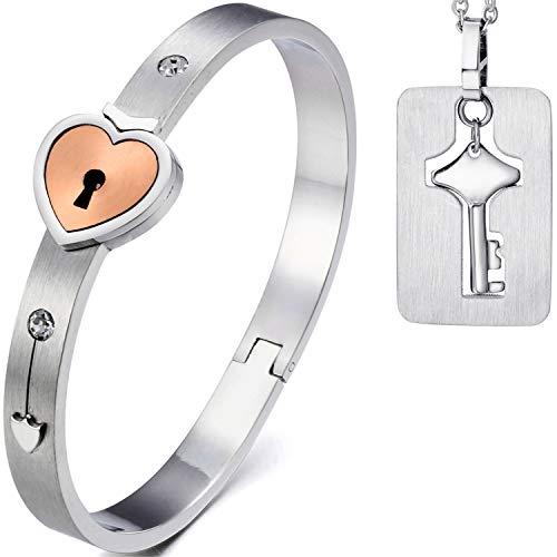 Cupimatch 2Pcs Paare Armband Halskette Set Herz Schloss und Schlüssel für Ehepaar Liebe Verliebte Edelstahl 18cm Armreif Damen 45cm Kete Herren
