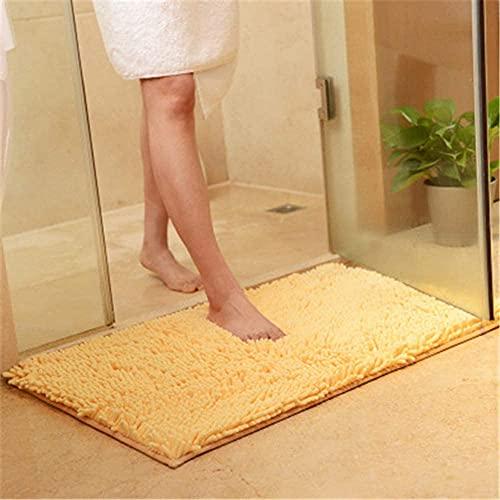 Xiaoxian Alfombrilla antideslizante para baño de microfibra de felpilla con absorción de agua, suave lavable a máquina (50 x 80, beige)