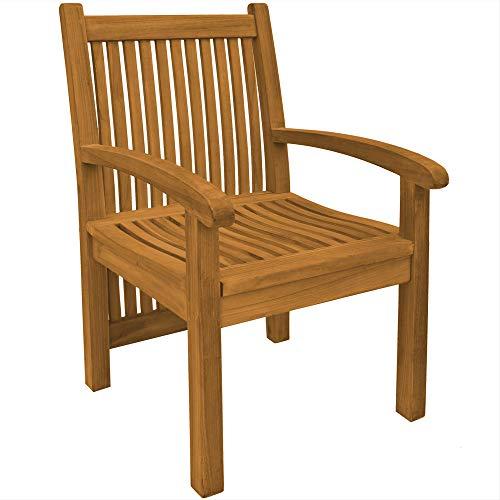 Teako Design Gartenstuhl Pescara wetterfest Teakholz massiv Holz Teak Gartensessel Gartenmöbel sehr robust und stabil